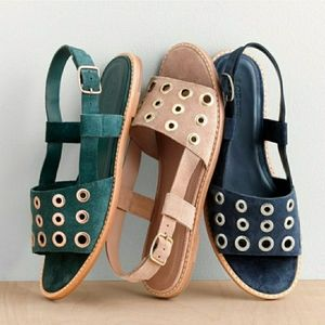 J. CREW Suede Slingback Grommet Sandals Tan Nude 8